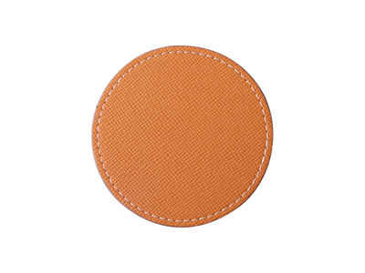 PU Leather Round Mug Coaster(Φ9.5cm,Orange)