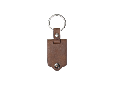 Sublimation Keychain with Engraved Leather Cover(3.5*7.5cm, Brown)