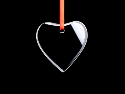 "3"" Engraved Glass Ornament (Heart)"