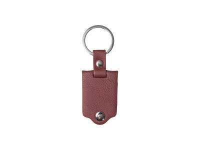 Sublimation Keychain with Engraved Leather Cover(3.5*7.5cm, Maroon)