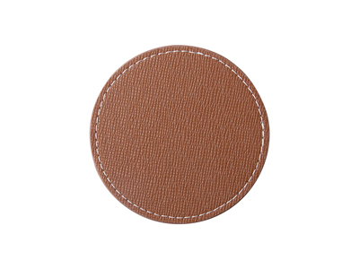 PU Leather Round Mug Coaster(Φ9.5cm,Brown)