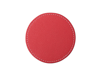 PU Leather Round Mug Coaster(Φ9.5cm,Red)