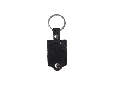 Sublimation Keychain with Engraved Leather Cover(3.5*7.5cm, Black)