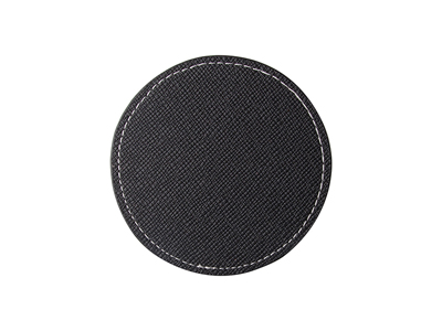 PU Leather Round Mug Coaster(Φ9.5cm,Black)
